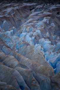 An up close and personal view of the Ice Maze consisting of hundreds of crevasses on Mendenhall Glacier in Alaska.