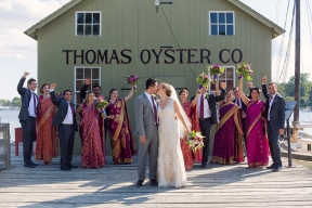 Ashley and Upamanyu with Bridal Party at Thomas Oyster Co Mystic Seaport, CT.